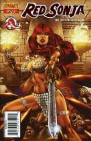 Red Sonja #29 Ron Adrian Red Foil Variant COA Ltd 310 Dynamite comic book